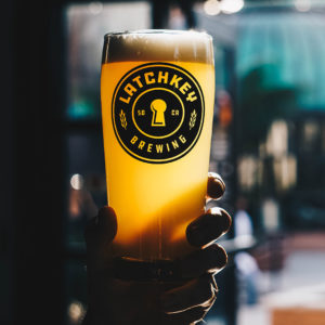 Latchkey Beer logo glass 2