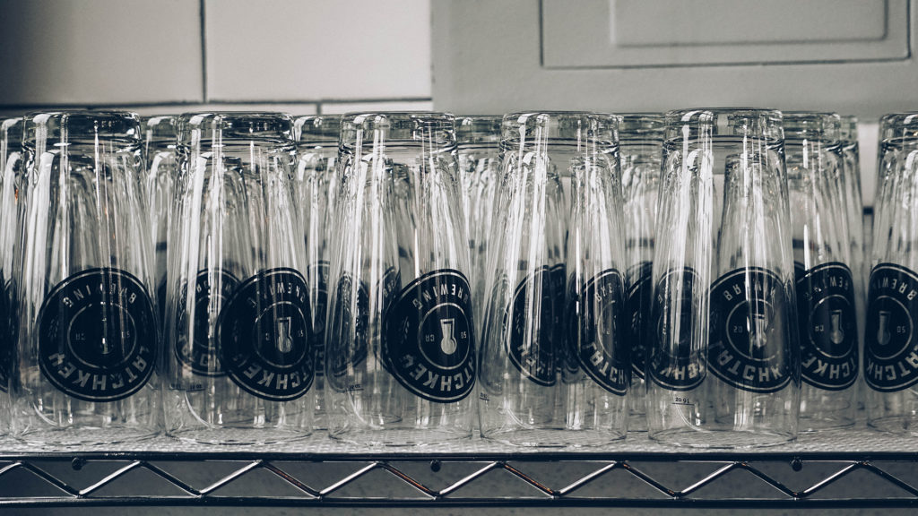 Latchkey Glasses ready for beer to be poured